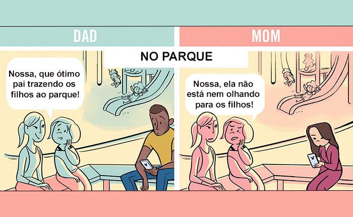 Ilustrações retratam as diferenças como pais e mães são tratados