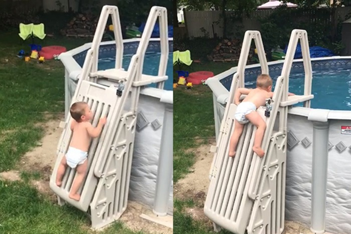 Cuidado: Este bebê consegue escalar a escada da piscina sozinho (Vídeo)