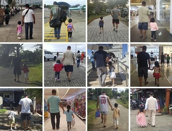 Por anos, mãe registra secretamente passeio do seu marido e filha com as mãos dadas