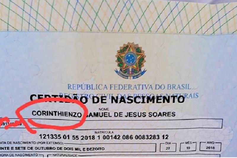Pai fanático por time de futebol registra filho com o nome de CorinthiENZO